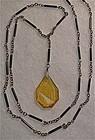 Vintage etched amber black glass necklace