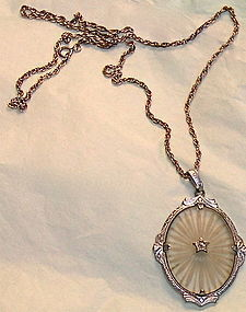 Vintage Deco Camphor Glass Pendant Sterling Chain