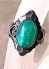 Vintage Sterling Green Jade Peking Glass Ring