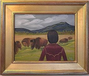 Signed American Oil O/C Painting Landscape Buffalo