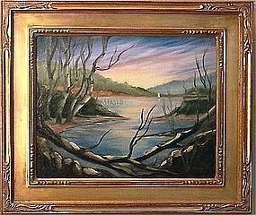 Signed American Oil Linen Painting Landscape Birches Lake Boat