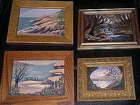 Signed Mini Oil Landscape Painting 3 Beach Boat Birches