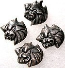 Vintage Antique Chinese Silver Foo Dog Lion Button Set