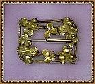Vintage Shamrock Foliate Brass Buckle Sash Pin Hasp