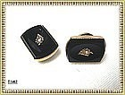 Vintage Antique Victorian Black Cuff Links Pearl GF
