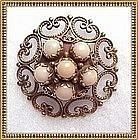 Vintage 14K Gold Angel Skin Coral Pendant Pin Brooch