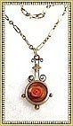 Auction Victorian Gold Lavalier Carved Coral Banjo Pendant Necklace