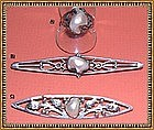 """Vintage Arts  Crafts Sterling Pearl Pin Ring Trio  """"CC"""""""