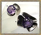 """Vintage Taxco Sterling Sanchez """"Alexandrite"""" Ring Duo"""