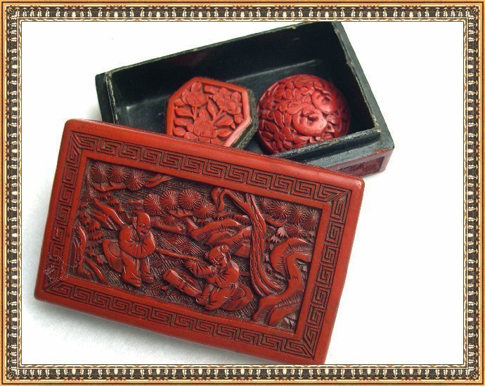 Vintage lg cinnabar floral button red carved lacquer box